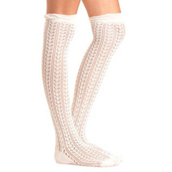 RUFFLE TOPPED POINTELLE OVER-THE-KNEE SOCKS