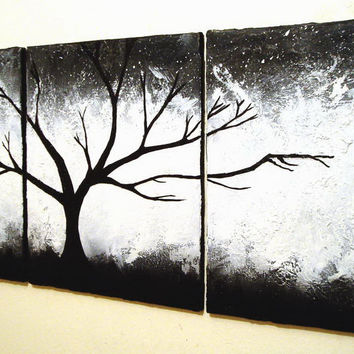 LANDSCAPE TREE ART TRIPTYCH TEXTURE ORIGINAL ACRYLIC PAINTING ON CANVAS