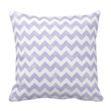Purple Glitter White Chevron Throw Pillow