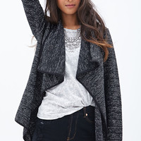 FOREVER 21 Marled Open-Front Cardigan Black/White