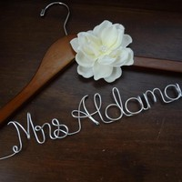 Personalized Wedding Dress Hanger With Ivory Fabric Flower | Luulla