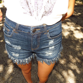 High Waisted Shorts, Dark Wash Shorts, Distressed Shorts | Nothing Too Wear