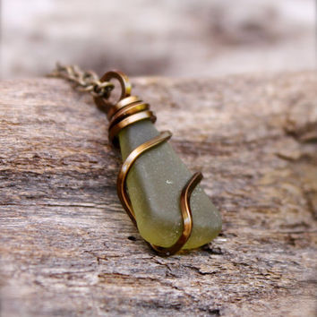 Sea Glass Jewelry - Wire Wrapped Seaglass Necklace - Olive Green Seaglass Jewelry - Sea Glass Necklace - Hawaiian Jewelry - Gypsy Necklace