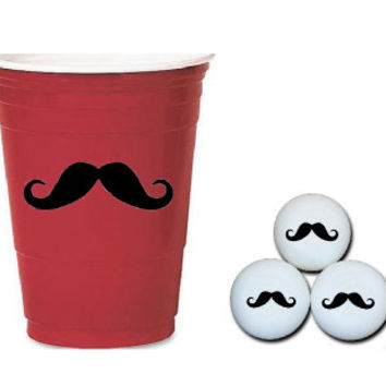 100 Decals!!  Beer Pong Cups and Balls Mustache Decal Set - Plastic Cup Decals - Coffee Mug Decal - Wine Glass Decals