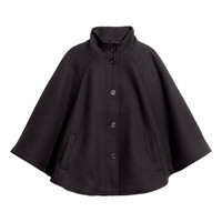 H&M - Cape in Textured Woven Fabric - Black - Ladies