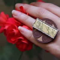 Persian Calligraphy Ring on Brass and wood by Sanaz