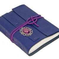 Purple Leather Wrap Journal with Cameo Bookmark