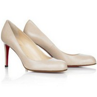 Simple 85mm Leather Pumps White