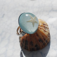 Real Starfish Ring Nautical 02 Blue  by NaturalPrettyThings