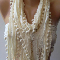 Ivory Beige Lace and Elegance Shawl // Scarf with by womann