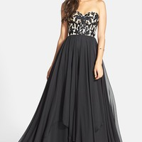 Sherri Hill Embroidered Bodice Strapless Chiffon Gown