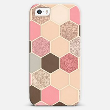 Caramel, Cocoa & Strawberry Hexagon & Doodle Pattern iPhone 5s case by Micklyn Le Feuvre | Casetify