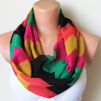Chevron Print Green Pink Black Orange Yellow Loop by fairstore