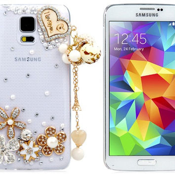 Crystal Heart & Flower Plastic Case for Samsung Galaxy S5