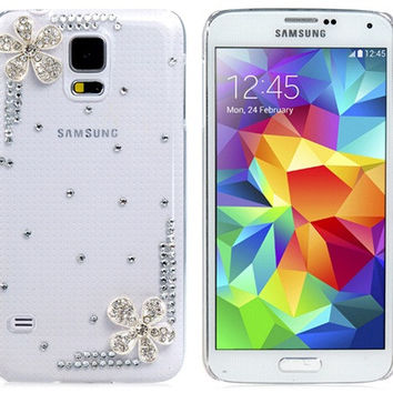 Crystal Flower Plastic Case for Samsung Galaxy S5