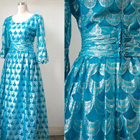 1960's Vintage Cresta Dress - Turquoise And Silver - Vintage Party Hostess Dress - Evening Gown - Amazing Mermaid-esque Dress