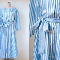 Full Skirt Betty Barclay Dress - 1980's Vintage Dress - Blue And White Stripe Dress With Tie Belt - Lazy Sunday Dress