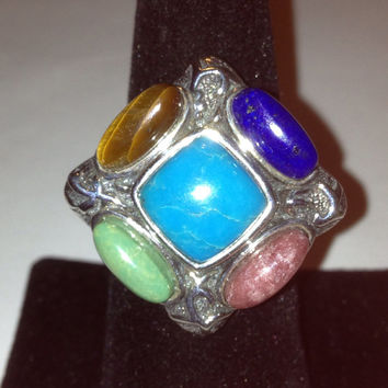 Turquoise Lapis Ring Jean Lin Sz 9.5 Tiger Eye Rhodonite Variscite Sterling Silver Vintage Southwestern Jewelry Christmas Holiday Gift