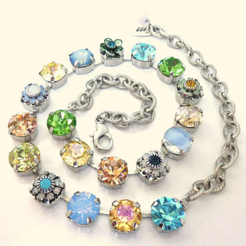 NEW Sweet Blossoms Swarovski crystal necklace, 11mm pastels and flowers, Designer inspired Siggy bling
