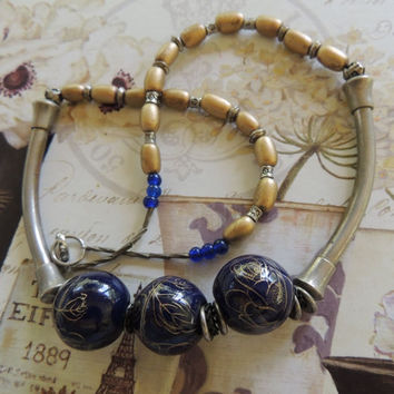 Upcycled Vintage Handmade Blue Brass Necklace, Sterling Silver, Cobalt Blue, vintage jewelry