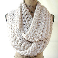 Ready To Ship New Large Fisherman Winter White Cream Chunky Scarf Fall Winter Women's Accessory Infinity 161