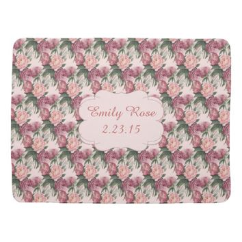 French Pink Roses Baby Blanket