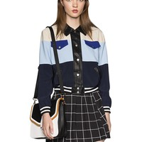 Indigo Colorblock Bomber Jacket