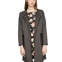 Check duster cocoon coat