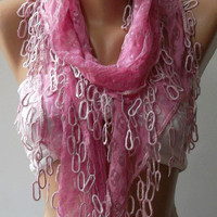 Pink Lace and Elegance Shawl / Scarf with Lace Edge by womann,,,,
