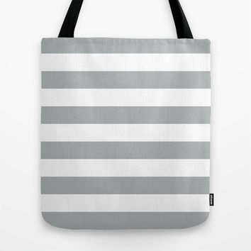 Stripe Horizontal Grey & White Tote Bag by BeautifulHomes | Society6
