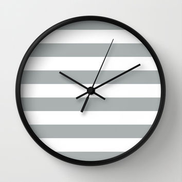 Stripe Horizontal Grey & White Wall Clock by BeautifulHomes | Society6