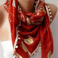 Turkish Shawl Anatolians Scarf with Lace Yemeni Red by womann,,,,
