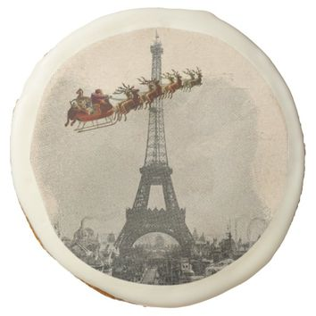 Vintage Santa over Paris Christmas Cookie