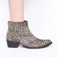 Leopard pony hair boots