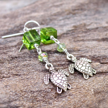 Sea Turtle Jewelry from Hawaii - Honu Earrings - Green Sea Turtle Earrings - Hawaiian Honu Jewelry - Hawaiian Jewelry - Beach Earrings