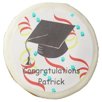 Party Streamers Personalized Graduation Cookie