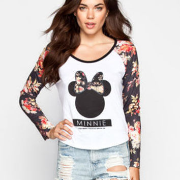 Neff Disney Collection Floral Bow Womens Raglan Tee White Multi  In Sizes