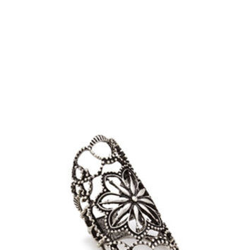 Floral Embellished Cutout Ring