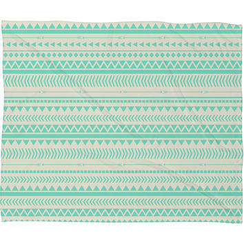 Allyson Johnson Mint Tribal Fleece Throw Blanket
