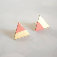 Coral Peach Dipped Triangle Earring Studs
