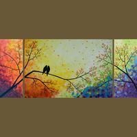 "72"" Original Modern Texture Impasto Painting Landscape Love Birds Tree Wall Decor ""Over the Rainbow"" by QIQIGALLERY"