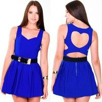 Blue Sleeveless Heart Cut Out Dress
