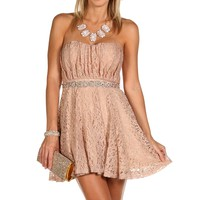 Belen- Mauve Lace Homecoming Dress