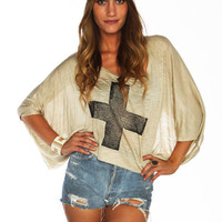 Beige Cross Top