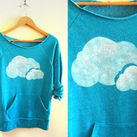 Double Clouds HAND STENCILED Deep Scoop Neck Heather Artist Series Sweatshirt in Teal Blue - S M L XL