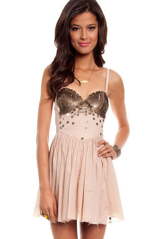 One Teaspoon Zeppelin Dress in Nude :: tobi