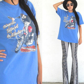 Vintage 90s Boho Hipster // Harley Davidson T Shirt // Things Are Different On A Harley // XS Extra Small / Small / Medium / Large