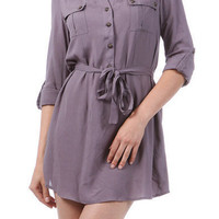 Purple T-Shirt Dress with Front Pockets and Tie Waist