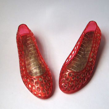 Vintage 80s Red Gold Jelly Shoes 9