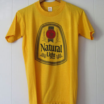 Vintage 80s Natural Light Beer T Shirt Yellow Soft Thin 50/50  XS
